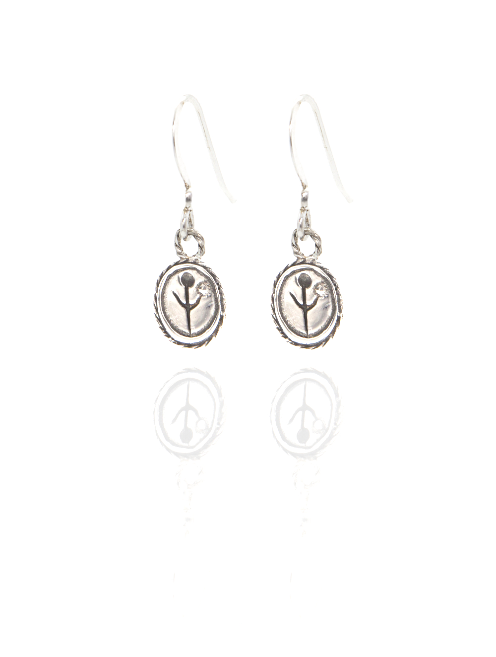 silver empanda symbol earrings