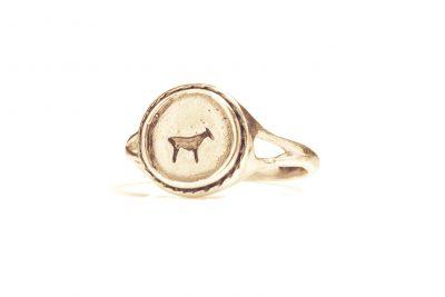 gold bau animal signet ring