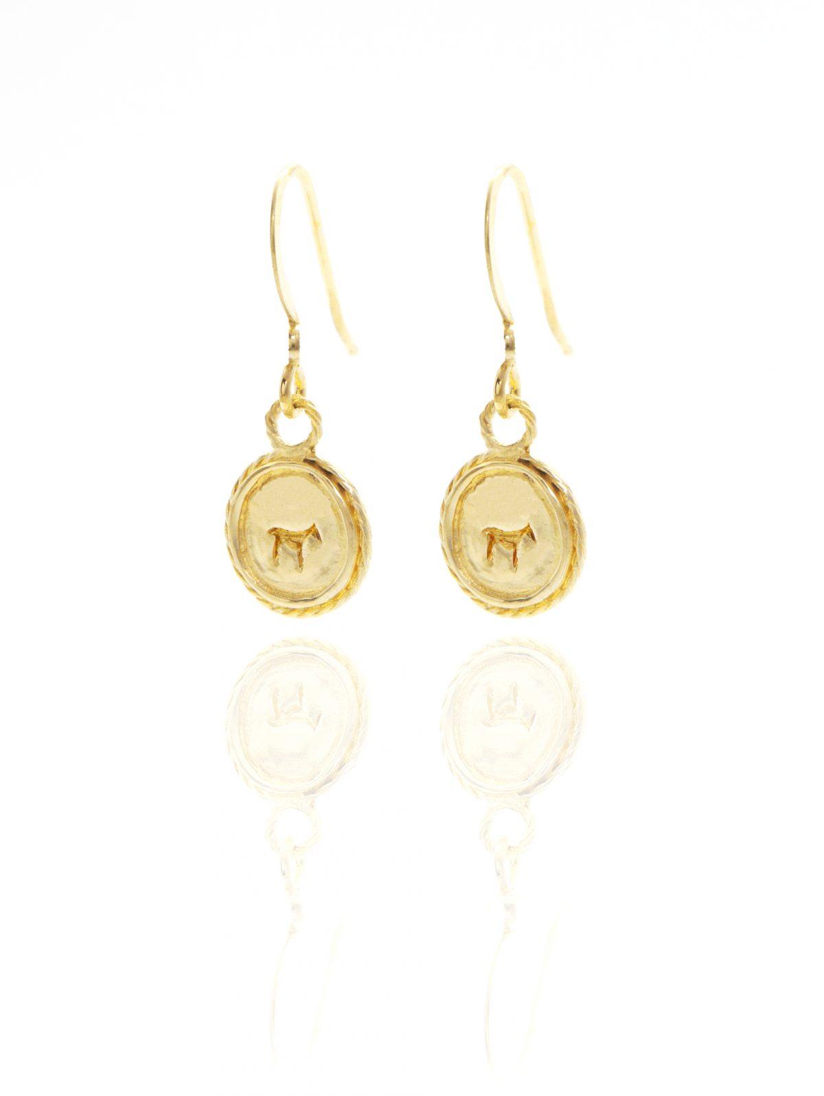gold bau animal earrings