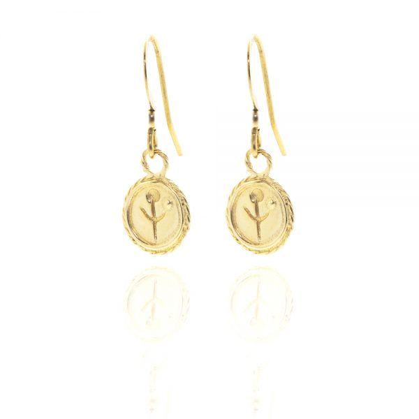 gold empanda symbol earrings