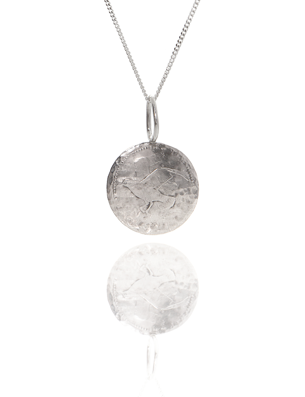 flying bird coin pendant