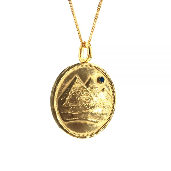 pyramid full moon coin necklace