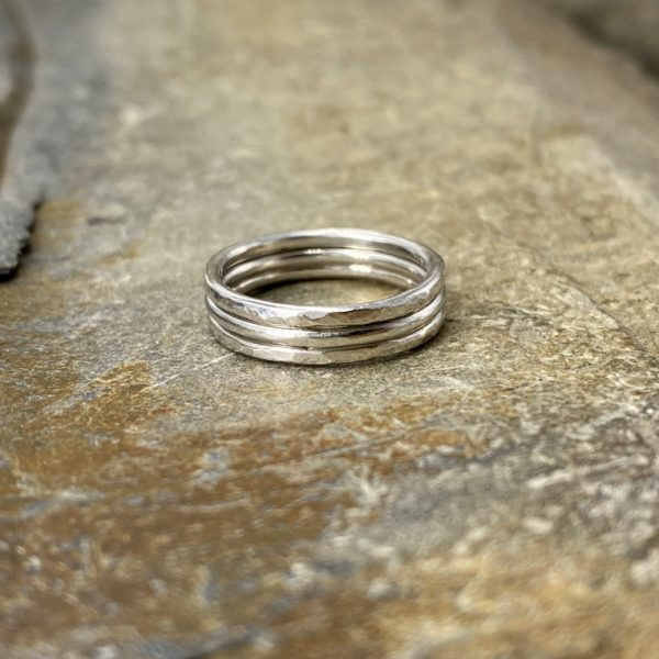 Hammered Trio Rings